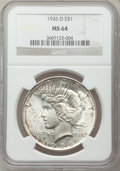 Peace Dollars: , 1926-D $1 MS64 NGC. NGC Census: (1001/595). PCGS Population(1567/855). Mintage: 2,348,700. Numismedia Wsl. Price for probl...