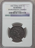 Large Cents: , 1846 1C Small Date -- Environmental Damage -- NGC Details. AU. NGCCensus: (9/312). PCGS Population (10/136). Mintage: 4,12...