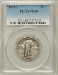 Standing Liberty Quarters: , 1927-S 25C VF30 PCGS. PCGS Population (101/644). NGC Census:(57/385). Mintage: 396,000. Numismedia Wsl. Price for problem ...