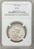 Walking Liberty Half Dollars: , 1929-S 50C VF30 NGC. NGC Census: (10/690). PCGS Population(12/953). Mintage: 1,902,000. Numismedia Wsl. Price for problem ...