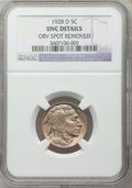 Buffalo Nickels: , 1928-D 5C -- Obv Spot Removed -- NGC Details. UNC. NGC Census:(2/1464). PCGS Population (1/2263). Mintage: 6,436,000. Numi...