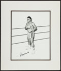 Baseball Collectibles:Others, Muhammad Ali Signed Original Drawing....