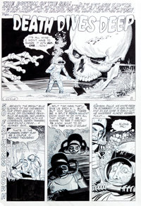 "Gene Fawcette Adventures into Darkness #13 Complete 4-Page Story ""Death Dives Deep"" Original Art (Standard Com..."