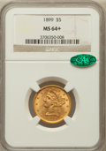 Liberty Half Eagles, 1899 $5 MS64+ NGC. CAC. NGC Census: (2034/627). PCGS Population(676/99). Mintage: 1,710,729. Numismedia Wsl. Price for pro...