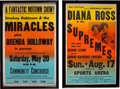 Music Memorabilia:Posters, Diana Ross and the Supremes and Smokey Robinson and the MiraclesMotown 'Boxing Style' Posters (c. 1967-69).... (Total: 2 Items)