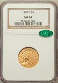 Indian Half Eagles: , 1909-D $5 MS64 NGC. CAC. NGC Census: (2516/83). PCGS Population(2661/112). Mintage: 3,423,560. Numismedia Wsl. Price for p...