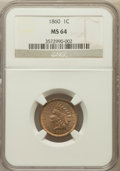 Indian Cents, 1860 1C Pointed Bust MS64 NGC....