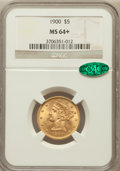Liberty Half Eagles, 1900 $5 MS64+ NGC. CAC. NGC Census: (1603/231). PCGS Population(893/99). Mintage: 1,405,730. Numismedia Wsl. Price for pro...
