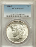 Peace Dollars: , 1934-D $1 MS62 PCGS. PCGS Population (1040/3232). NGC Census:(851/2200). Mintage: 1,569,500. Numismedia Wsl. Price for pro...