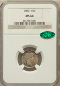 Barber Dimes: , 1892 10C MS64 NGC. CAC. NGC Census: (335/218). PCGS Population(319/202). Mintage: 12,121,245. Numismedia Wsl. Price for pr...