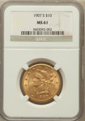 Liberty Eagles: , 1907-S $10 MS61 NGC. PCGS Population (36/71). Mintage: 210,500.Numismedia Wsl. Price for problem free N...