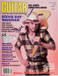 Music Memorabilia:Autographs and Signed Items, Stevie Ray Vaughan Signed Guitar Magazine (January 1986)....
