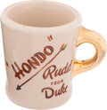 "Movie/TV Memorabilia:Memorabilia, A John Wayne Coffee Mug from ""Hondo.""..."