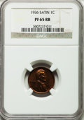 Proof Lincoln Cents, 1936 1C Type One--Satin Finish PR65 Red and Brown NGC....