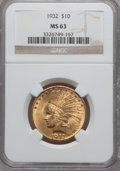 Indian Eagles: , 1932 $10 MS63 NGC. NGC Census: (22917/13692). PCGS Population(18324/10187). Mintage: 4,463,000. Numismedia Wsl. Price for ...