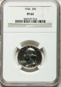 1936 25C PR62 NGC. NGC Census: (52/868). PCGS Population (85/1065). Mintage: 3,837. Numismedia Wsl. Price for problem fr...