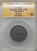 Large Cents, 1794 1C Head of 1794, S-65, B-51, R.1 -- Rim Bumps -- ANACS. Fine12 Details. PCGS Population (0/11)....