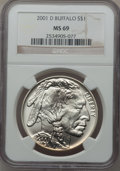 Modern Issues: , 2001-D $1 Buffalo Silver Dollar MS69 NGC. NGC Census: (11277/1673).PCGS Population (13851/823). Numismedia Wsl. Price for...
