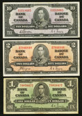 Canadian Currency: , $1; $2; and $10 1937 Canadian Notes.. ... (Total: 3 notes)