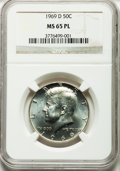Kennedy Half Dollars, 1969-D 50C MS65 Prooflike NGC. NGC Census: (356/96). PCGSPopulation (407/116). Mintage: 129,881,800. Numismedia Wsl.Price...
