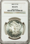 Morgan Dollars: , 1883-CC $1 MS64 Prooflike NGC. NGC Census: (670/405). PCGSPopulation (1223/743). Numismedia Wsl. Price for problem free N...