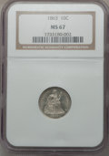 Seated Dimes, 1863 10C MS67 NGC....