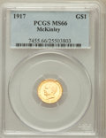 Commemorative Gold: , 1917 G$1 McKinley MS66 PCGS. PCGS Population (381/57). NGC Census:(197/51). Mintage: 10,000. Numismedia Wsl. Price for pro...