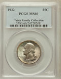 Washington Quarters, 1932 25C MS66 PCGS. Ex: Teich Family Collection. PCGS Population(174/2). NGC Census: (90/2). Mintage: 5,404,000. Numismed...