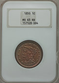 Large Cents: , 1850 1C MS63 Red and Brown NGC. NGC Census: (17/227). PCGSPopulation (47/254). Mintage: 4,426,844. Numismedia Wsl. Price f...