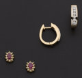 Estate Jewelry:Earrings, Ruby, Diamond, Gold Earring Lot. ... (Total: 2 Items)