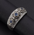Estate Jewelry:Rings, Synthetic Sapphire, Diamond, White Gold Ring. ...