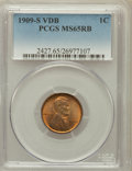 Lincoln Cents: , 1909-S VDB 1C MS65 Red and Brown PCGS. PCGS Population (755/32).NGC Census: (413/41). Mintage: 484,000. Numismedia Wsl. Pr...