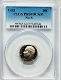 Proof Roosevelt Dimes: , 1983 10C No S PR69 Deep Cameo PCGS. PCGS Population (112/0). NGCCensus: (84/2). Numismedia Wsl. Price for problem free NG...