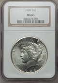 Peace Dollars: , 1928 $1 MS63 NGC. NGC Census: (1398/1040). PCGS Population(2181/2007). Mintage: 360,649. Numismedia Wsl. Price for problem...