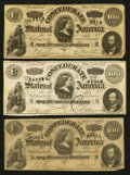 Confederate Notes:1864 Issues, T65 $100 1864 Three Examples.. ... (Total: 3 notes)