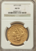 Liberty Double Eagles: , 1875-S $20 AU55 NGC. NGC Census: (420/2445). PCGS Population(352/1060). Mintage: 1,230,000. Numismedia Wsl. Price for prob...