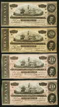 Confederate Notes:1864 Issues, T67 $20 1864 Group Uncirculated Four Examples.. ... (Total: 4 notes)