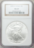 Modern Bullion Coins, 2008-W $1 Silver Eagle MS69 NGC. NGC Census: (14784/19669). PCGSPopulation (5085/2058)....