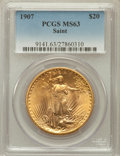 Saint-Gaudens Double Eagles: , 1907 $20 Arabic Numerals MS63 PCGS. PCGS Population (3711/6843).NGC Census: (2710/2877). Mintage: 361,667. Numismedia Wsl....