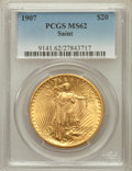 Saint-Gaudens Double Eagles: , 1907 $20 Arabic Numerals MS62 PCGS. PCGS Population (2360/10554).NGC Census: (3159/5587). Mintage: 361,667. Numismedia Wsl...