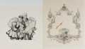 """Books:Art & Architecture, Arthur Szyk. Artist. SIGNED. Illustration with adhesive on verso, unused. Harry L. Peckmore, 1950. 8 1/2"""" x 10"""". Also includ..."""