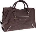 Luxury Accessories:Bags, Balenciaga Gray Crocodile Classic City Bag with Silver Hardware....