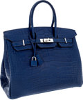Luxury Accessories:Bags, Hermes 35cm Matte Blue de Malte Alligator Birkin Bag with PalladiumHardware. ...