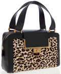 Luxury Accessories:Accessories, Jimmy Choo Cassidy Leopard Print Pony & Black Leather BoxSatchel Bag. ...
