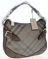Burberry Silver Check and Leather Maiden Hobo Bag