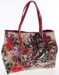 Luxury Accessories:Accessories, Jimmy Choo Multicolor Glazed Canvas Scarlet Painted Icon MediumTote Bag. ...