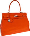 Luxury Accessories:Travel/Trunks, Hermes 50cm Orange H Swift Leather Kelly Relax Travel Bag withPalladium Hardware. ...