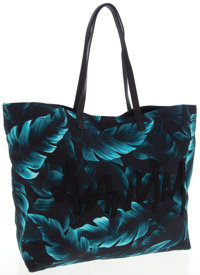 Lanvin Blue Palm-Print Fabric Tote Bag with Ribbon Logo