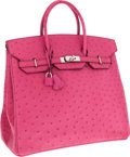 Luxury Accessories:Bags, Hermes 36cm Fuschia Ostrich HAC Birkin Bag with Palladium Hardware. ...