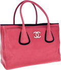 Luxury Accessories:Bags, Chanel Pink & Navy Lambskin Leather Cerf Tote Bag. ...